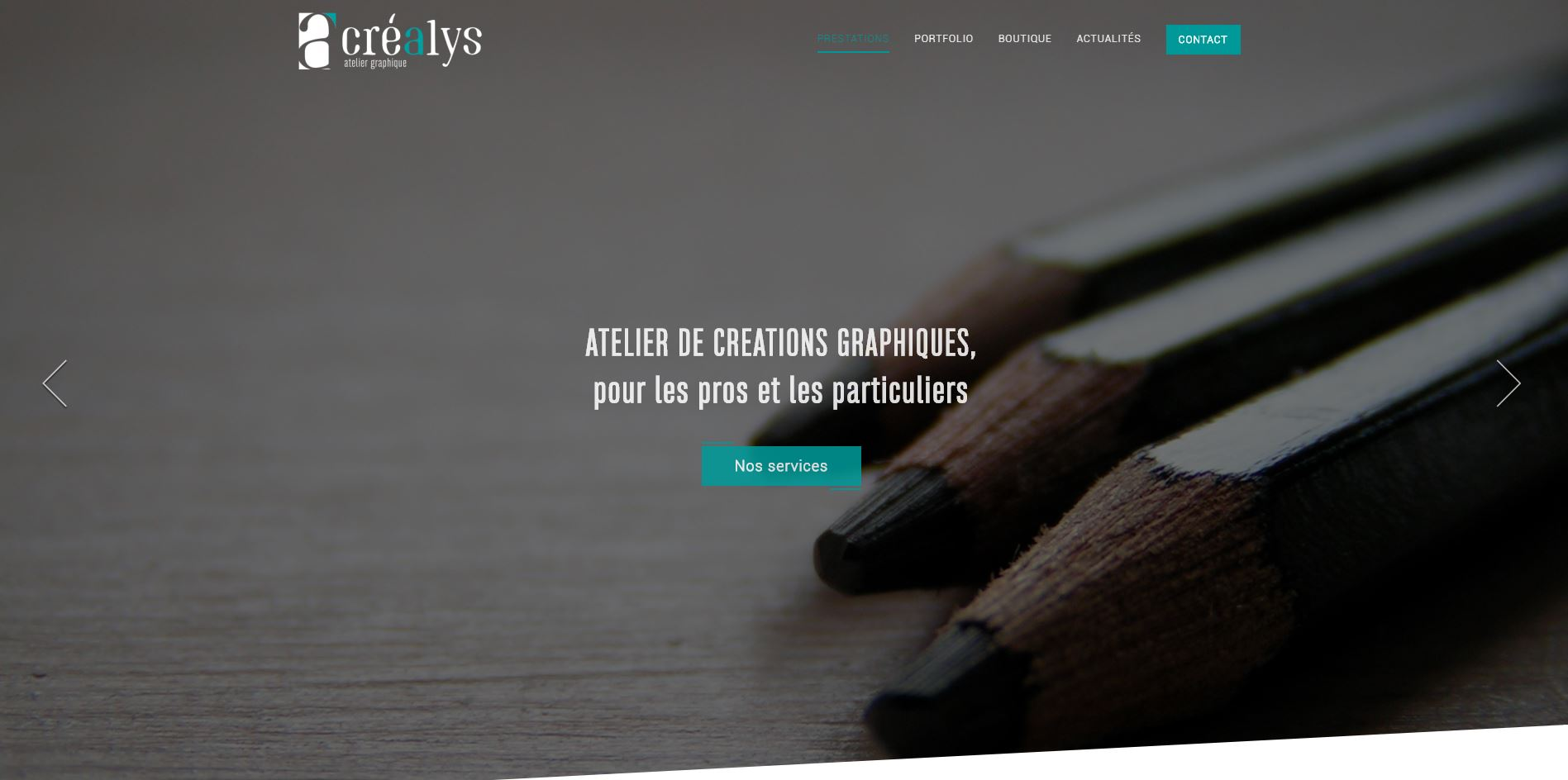 Page d'accueil Créalys Design