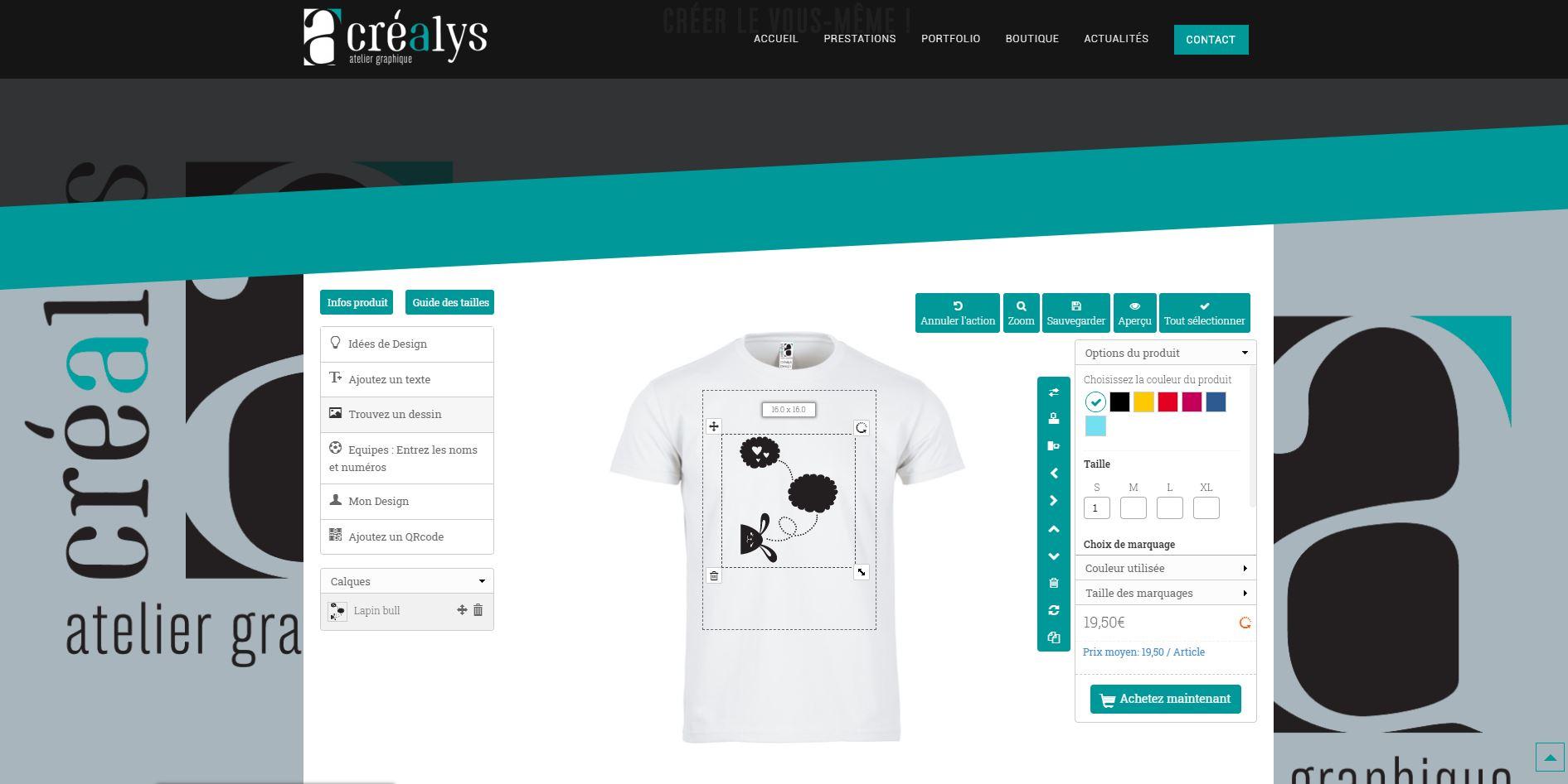 Outil de personnalisation de T-Shirt www.crealysdesign.com